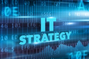 IT strategy concept blue background blue text