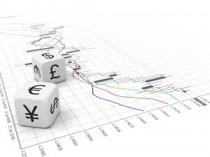 Two small currency dice on Forex chart